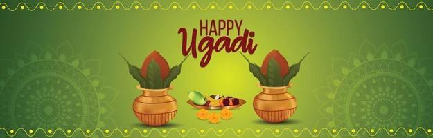 bannière de célébration ugadi heureux vecteur