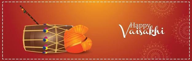 bannière ou en-tête de célébration de vaisakhi heureux vecteur