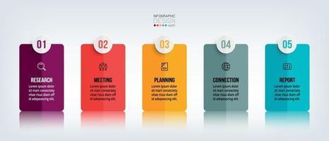 6 étapes pour expliquer le travail et présenter les informations de planification pour rapporter les résultats pour l'entreprise, l'entreprise, les affaires, le marketing à travers de nouveaux rectangles de conception. vecteur