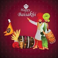 illustration créative de fond de célébration de vaisakhi heureux vecteur