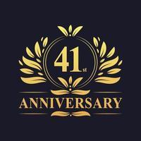 Conception du 41e anniversaire, logo d'anniversaire de 41 ans de couleur dorée luxueuse. vecteur