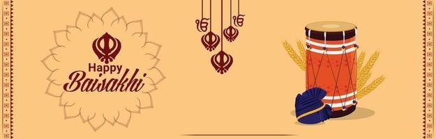 bannière de célébration du festival sikh indien vaisakhi vecteur