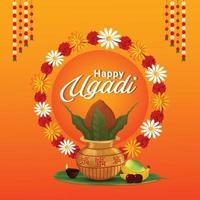 carte de voeux joyeuse célébration ugadi vecteur