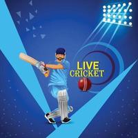 Concept de match de tournoi de cricket avec équipement de stade et de cricket vecteur