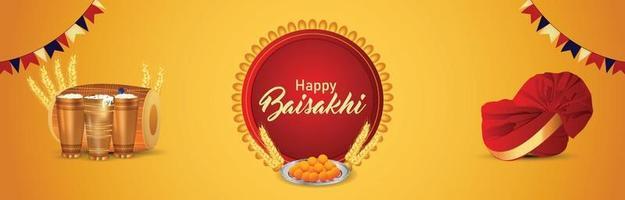 illustration vectorielle créative de la bannière de vaisakhi heureux