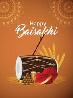 Bannière ou en-tête de célébration du festival sikh indien vaisakhi vecteur