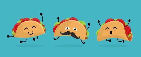 mexique taco situé dans un style cartoon. taco avec une cuisine mexicaine traditionnelle. avec moustache et émotion heureuse. vecteur