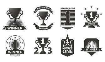 logos gagnants, badges, emblèmes et éléments de conception. numéro un. victoire des icônes noires. vecteur