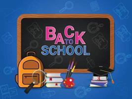 retour à l & # 39; école avec des fournitures scolaires vecteur