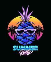 illustration d'ananas avec palmiers et coucher de soleil. fête d'été. néon. faire la fête. iillustration pour impression de t-shirt. illustration de mode vectorielle vecteur