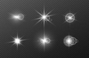 effet de lumières incandescentes, flare. jeu d'étoiles vectorielles. collection d'explosion. vecteur