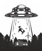 vintage affiche ovni. des extraterrestres enlèvent une vache dans une ferme. maison avec moulin à vent en forêt. design noir et blanc. illustration vectorielle. vecteur
