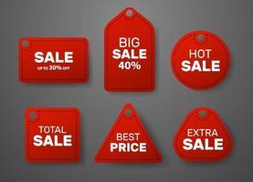 vente vector ensemble de balises de vente rouges suspendus. style réaliste. extra, grand, meilleur, chaud, signe ou autocollants de vente totale.