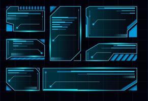 interface utilisateur futuriste de hud. conception de disposition du panneau de commande bleu abstrait. affichage virtuel de technologie de science-fiction. cadre de vaisseau spatial futuriste. vecteur
