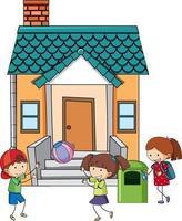 de nombreux enfants pratiquant différentes activités à la maison