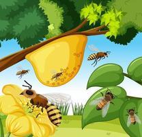 scène en gros plan avec de nombreuses abeilles et ruche
