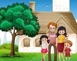 famille heureuse, debout, devant, les, maison