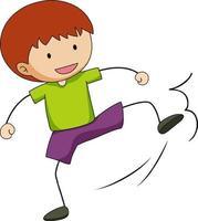personnage de dessin animé mignon garçon dans un style doodle dessiné à la main isolé vecteur