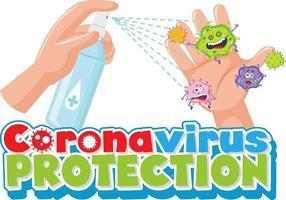 Police de protection contre les coronavirus avec la main à l'aide d'un spray désinfectant à l'alcool vecteur