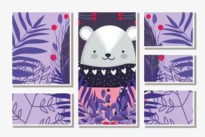 carte de joyeux noël sertie de souris mignonne d'hiver