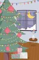 affiche de joyeux noël avec joli arbre de Noël à la maison vecteur