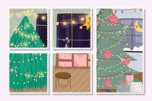 carte de joyeux Noël sertie de joli arbre de Noël à la maison vecteur