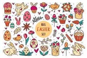 Pâques doodle dessinés à la main vector ensemble d'éléments, clipart, illustration, autocollant. conception d'art en ligne. isolé sur fond blanc. gâteaux de Pâques, lapins, muffins, plantes, œufs, épices, fleurs.