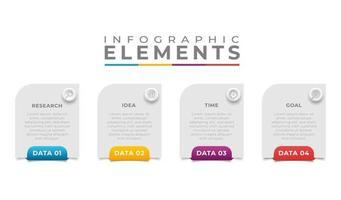 infographie entreprise sertie d & # 39; illustration d & # 39; icônes colorées de texte vecteur
