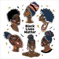 communauté noire un groupe de femmes africaines si belles, droits de l'homme, lutte contre le racisme. dessin au trait, style minimalisme. illustration du mois de l'histoire des noirs. vecteur
