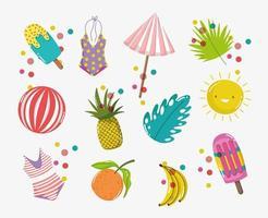 bonjour jeu d'icônes de vacances d'été vecteur