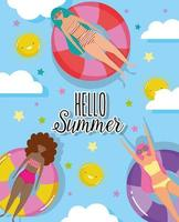 les femmes bonjour la conception des vacances d'été vecteur
