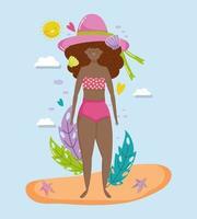 femme bonjour conception de vacances d'été vecteur