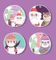 étiquette de fête de noël sertie de personnages d'hiver vecteur