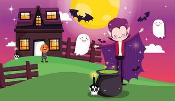 joyeux halloween, tromper ou traiter la carte sertie de personnages mignons