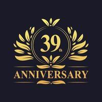 Conception du 39e anniversaire, logo d'anniversaire de 39 ans de couleur dorée luxueuse. vecteur