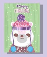 ours polaire pour la fête de noël vecteur