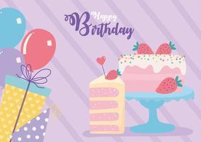 carte d'anniversaire colorée avec gâteau vecteur