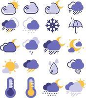 icônes météorologiques de changement climatique vecteur