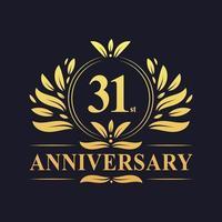Conception du 31e anniversaire, logo d'anniversaire de 31 ans de couleur dorée luxueuse. vecteur