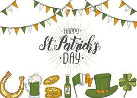 affiche de la saint patrick avec st dessiné à la main chapeau de patrick, fer à cheval, bière, baril, drapeau irlandais, trèfle à quatre feuilles et pièces d'or. caractères. illustrations de gravure vecteur