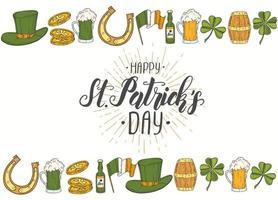 affiche de la Saint-Patrick avec des icônes dessinées à la main. st. chapeau de patrick, fer à cheval, bière, baril, drapeau irlandais, trèfle à quatre feuilles et pièces d'or. menu, bannière, publicité.lettering.engraving vecteur