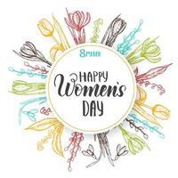 joyeuse journée de la femme. fond de vecteur pour la journée de la femme du 8 mars. carte de printemps avec lettrage, cadre et fleurs-muguets colorés dessinés à la main, tulipe, saule, perce-neige, crocus