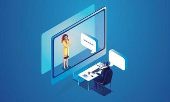 les gens d'événements virtuels utilisent la vidéoconférence. personne travaillant sur l'écran de la fenêtre de parler avec des collègues. vidéoconférence et page de l'espace de travail de réunion en ligne vecteur