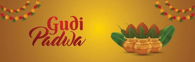 bannière créative ou en-tête de gudi padwa