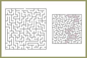 labyrinthe pour les enfants. Labyrinthe carré abstrait. trouvez le chemin vers le don. jeu pour les enfants. puzzle pour les enfants. énigme labyrinthe. illustration vectorielle plane isolée sur fond blanc. avec réponse vecteur
