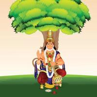 illustration créative de fond de célébration de lord hanuman jayanti vecteur