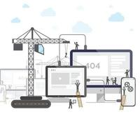 conception plate du site Web en construction, processus de construction de page Web avec des gens de bâton de figure configurer votre téléphone et votre tablette. vecteur
