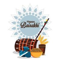 fond de célébration heureux baisakhi vecteur