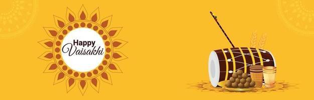 bannière de célébration du festival sikh heureux vaisakhi