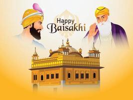 fond de vaisakhi heureux avec illustration de guru gobind singh et guru nanak dev ji et temple d'or